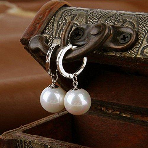 argento haodou Coppia Orecchini di perle anti allergie da donna Lega Orecchini fatti a mano nozze gioielli orecchini fatti a mano creativo orecchini donna gioielli di Earrings Jewellery Gift
