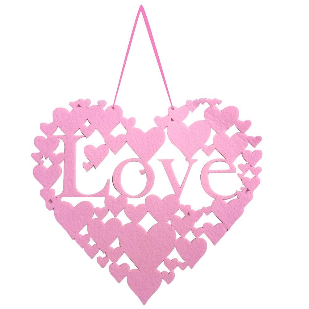 Dds5391 Refined Felt Love Heart Shaped Valentine's Day Wall Door Hanging Sign Wedding Decor