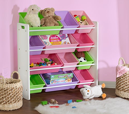 51%2B9txAkVWL - Honey-Can-Do SRT-01603 Kids Toy Organizer and Storage Bins, White/Pastel