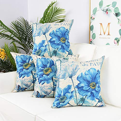 Blue Flower Set - Yinnazi Blue Flower Printed Throw Pillow Cover Painting Cushion Case Square Pillowcase for Couch Living Dorm 18 x 18 Inch Set of 4 (Blue Flower)