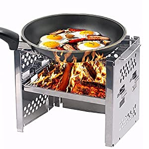 Unigear Wood Burning Camp Stoves Picnic BBQ Cooker/Potable Folding Stainless Steel Backpacking Stove 8