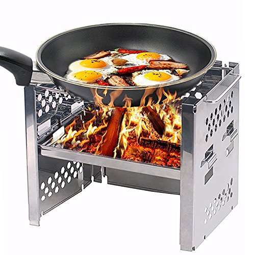 Wood Burning Camp Stoves Picnic BBQ Cooker/Potable Folding Stainless Steel Backpacking (Multi Fuel Backpacking Stoves)