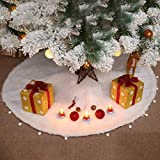 Peyan Faux Fur Christmas Tree Skirt White Long Plush Luxury Merry Christmas Supplies Xmas Holiday Decorations Pet Favors
