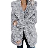 Lazzboy Jacket Coat Womens Teddy Fluffy Fleece Notch Collar Warm-up Plus Size Oversized(3XL 18,Grey)