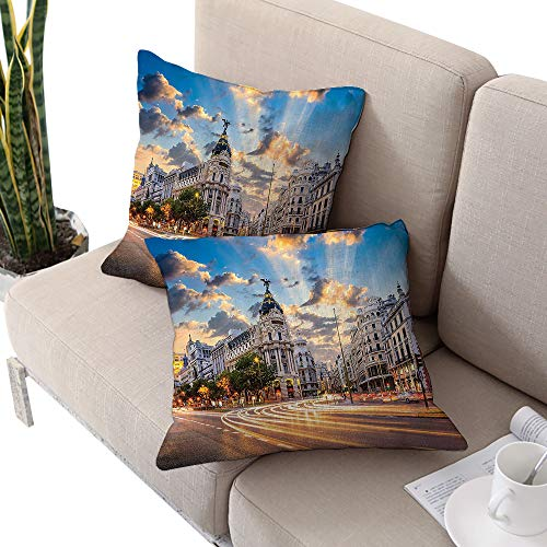 European Cityscape Decor Collection Square square cushion cover ,View of the Streets Modern Madrid With Sky Landscape Big Old Town Heritage Deco Multi Cushion Cases Pillowcases for Sofa Bedroom Car