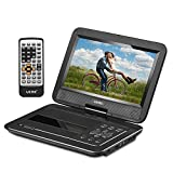 "UEME 10.1"" Portable DVD Player CD Player with Car Headrest Mount Holder, Swivel Screen Remote Control Rechargeable Battery AC Adapter Car Charger, Personal DVD Player PD-1020 (Black)"