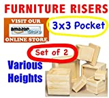3''x3'' Pocket - Furniture and Bed Risers - SET OF 2