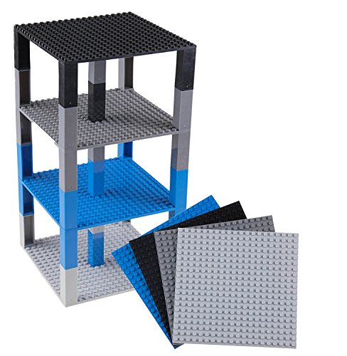 Strictly Briks Classic Baseplates 6 x 6 Brik Tower 100% Compatible with All Major Brands | Building Bricks for Towers and More | 4 Space Themed Colors Stackable Base Plates & 30 Stackers