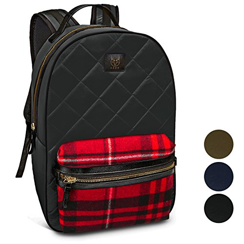 Laptop Backpack, for Men, Women. Stylish School and College Backpack for Girls and Boys.(Black with Black/Red Plaid)