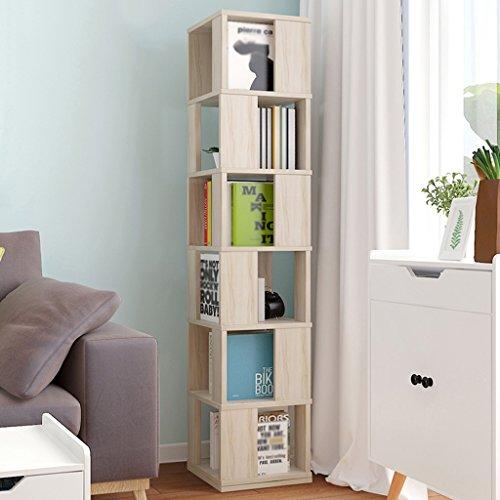 (Bookshelf 360 Degrees Rotating Floorstanding Shelf Simple Bookcase Student Multifunction Living Room Lockers Swivel (Color : Maple cherry color, Size : 3434190.4cm))