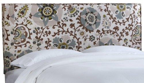 Skyline Furniture French Slipcover Headboard, Full, Silsila Rhinestone - Upholstered Headboard Slipcover