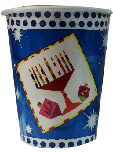 Paper Menorah - Chanukah Paper Cups , Disposable Cups , Decorated with Hanukkah Menorah and Dreidels - Pack of 24