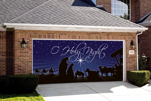 Victory Corps Outdoor Christmas Holiday Garage Door Banner Cover Mural Décoration 7'x16' - Nativity O Holy Night Outdoor Christmas Holiday Garage Door Banner Décor Sign -