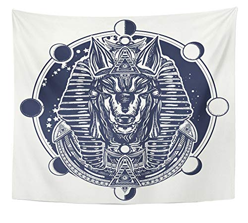 Emvency Tapestry Artwork Wall Hanging Anubis and Moon Phase Tattoo and Ancient Egypt God of War Golden Mask The Pharaoh 50x60 Inches Tapestries Mattress Tablecloth Curtain Home Decor Print ()