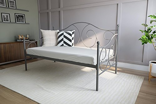 (DHP Victoria Daybed Metal Frame, Multifunctional, Includes Metal Slats, Twin Size, Pewter)