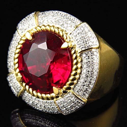 Naomi 12X12MM 6.6 Carat Men's Round Cut Diamond Halo Wedding Band Engagement Pinky Ring #999 Red 8