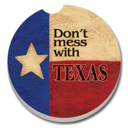 (CounterArt Absorbent Stoneware Car Coaster, Don't Mess with Texas