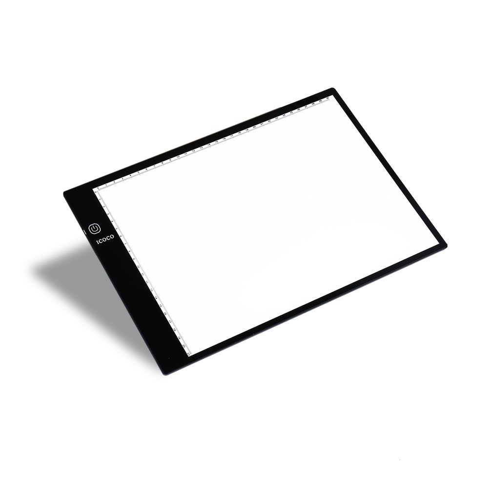 ICOCO A4 Ultra-Thin Tracing Light Box, Stepless Dimming Memory Function and USB Cable for Artists Animation, Design, Sketching, Drawing, Architecture KATHER