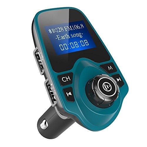 Nulaxy Bluetooth Car FM Transmitter Audio Adapter Receiver Wireless Handsfree Voltmeter Car Kit TF Card AUX USB 1.44 Display - KM19 Blue