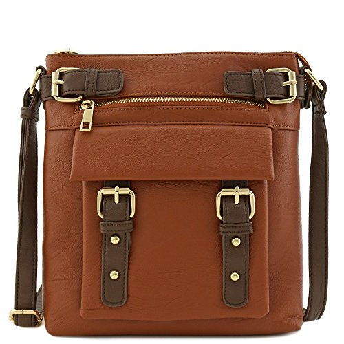 - Front Pocket Medium Crossbody Bag with Buckles Accent Brown