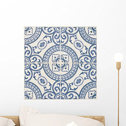 (Wallmonkeys Seamless Traditional Portuguese Building Tile Wall Decal Peel and Stick Graphic WM303906 (18 in H x 18 in W))