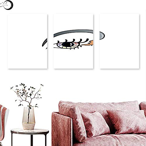 J Chief Sky Eyelash Poster Prints Makeup Artistic Design with Colorful Eye and Brush in Cartoon Style Cosmetics Theme Triptych Art Multicolor Triptych Art Canvas W 20