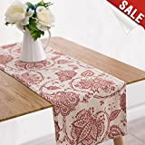 Table Runner Linen Textured 13 x 72 inch Scroll Patten Triangular Decorative Burlap Tablecovers Rustic Floral Design Handcrafted Flax Tablecloths, Poppy Red