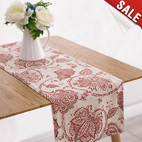 Table Runner Linen Textured 13 x 72 inch Scroll Patten Triangular Decorative Burlap Tablecovers Rustic Floral Design Handcrafted Flax Tablecloths, Poppy Red by jinchan