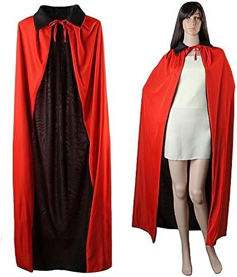 Unisex Deluxe Adult Black Long Cape with hood Halloween Vampire Fancy Dress