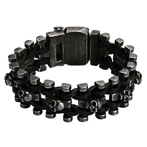 Viking Costume Walmart (Men's Stainless Steel Bracelet Biker Chain Weaved Black Leather Skull Heads 25.3CM)