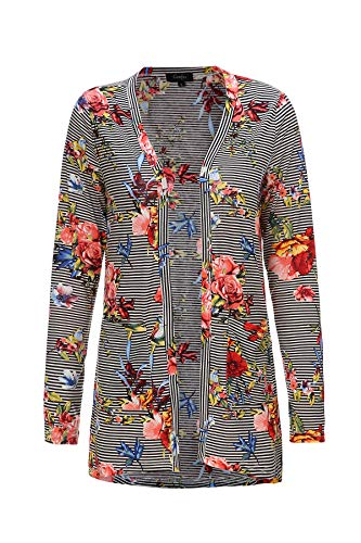 (Summer Cardigan for Women Floral Light Weight with Pockets (1X, Stripe with Floral))