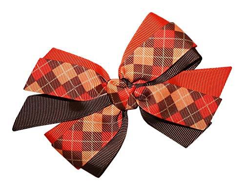 WD2U Girls Colors of Fall Thanksgiving Day Harvest Hair Bow Alligator Clip (Grosgrain Argyle Ribbon)