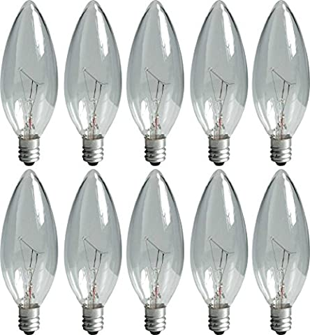 GE 74978 25-Watt Candelabra Light Bulb, Blunt Tip, 10-Pack (25 Watt Type A Light Bulb)