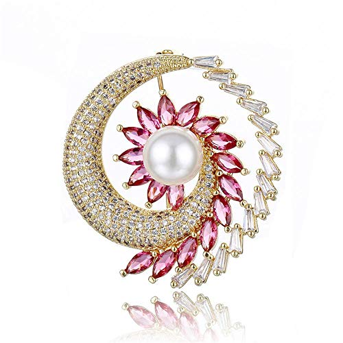 - LXIANGP Women's Brooch Peacock Shape Design Inlaid Zircon Pearl Brooch Women's Wild Gift pin for Ladies and Girls, with Gift Box