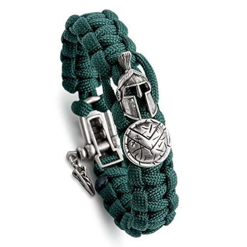 Helmet Shield Pin - Kayder Antique Silver Spartan Helmet & Warrior Shield Charm Paracord Bracelet with Adjustable Metal D Shackle Closure, Men and Boys Jewelry Gift, Rainforest Green