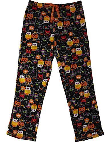 Womens Black Vampire Owl Spooky Candy Corn Sleep Pants Pajama Bottoms
