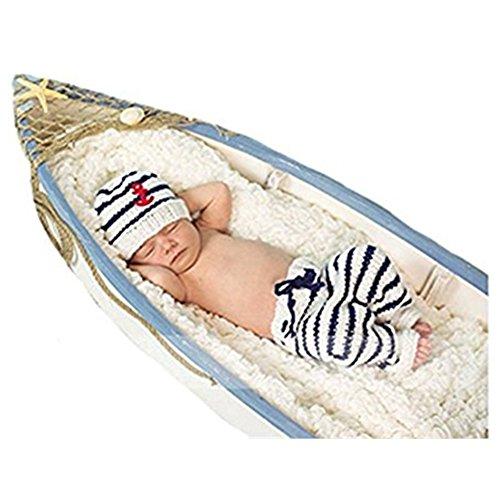 Unisex Newborn Baby Photography Prop Crochet Sailor Navy Stripe Anchor Hat Pants