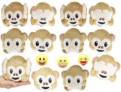 Emoji Monkey Pillow Party Favors for 12 - 12 Small Emoji Pillows (5 inch) and 3 Emoji Pins, 1 inch- Super Cute Pillows for Birthday Parties, Great for Prizes, Decorations