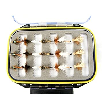 Fly Fishing Gift Set – Waterproof Micro-Slit Foam Shirt Pocket Fly Box with 15 Premium Trout Flies Assortment – Essential Wet and Dry Fly Collection