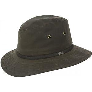 Jaxon Cotton Oilcloth Safari Fedora Hat (Small) Olive Green at ... 8e969f167cee