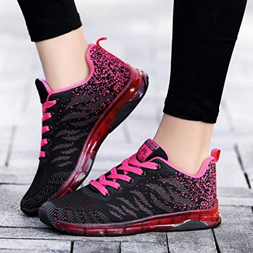 Shoes Woven Autumn Sneakers Flying Cushion Shoes Hot Pink Net FALAIDUO Student Running Air Teen Winter 0UxdXqY