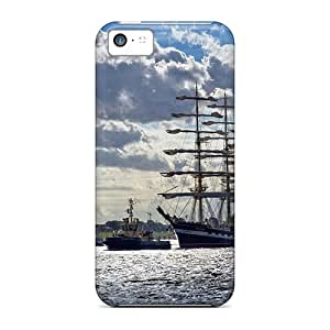 ZhiqiangYao Cases Covers Protector Specially Made For Iphone 5c Russian Sail Ship Coming Into Port