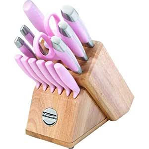Amazon Com Kitchenaid Pink 14 Piece Knife Cutlery Set In