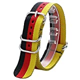 YISUYA Black Red Yellow 22mm Fabric Nylon Canvas Germany DE Flag Wrist Watch Band Strap