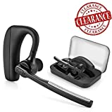 Bluetooth headset, HH Wireless Earpiece with Mic + Mute Switch, Handsfree for Business/Trucker Driving, Support iPhone Android Cellphones [+Portable Carrying Case]