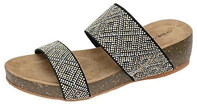 1509396fad03 Womens Dunlop Sandals Platform Wedge Flip Flops 8 UK Beaded Mule Black