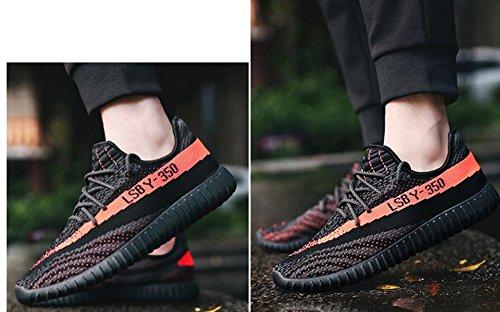 Damen Laufschuhe für Herren im Freien Mesh Lace Up Fashion Sneakers von JiYe Schwarz Orange-1