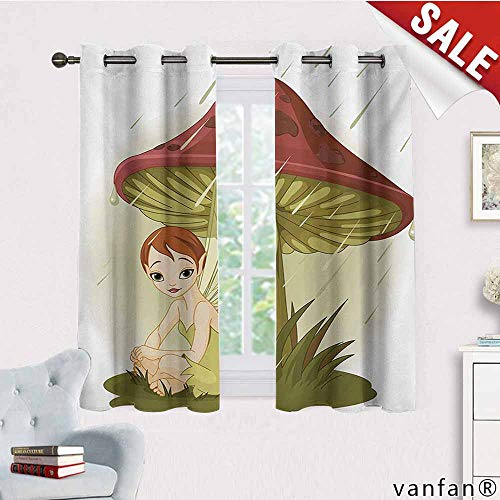 Big datastore Easy Care Home Decor Curtains,Mushroom,Fairy in Rain Under Mushroom Rainy Weather Wings Water Drops Greenery,with Grommet Top for Basement, Kitchen Olive Green Ruby Cream,W72 Xl63