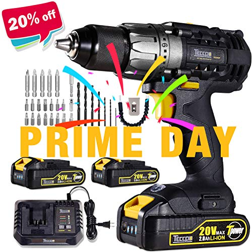 (Cordless Drill, 20V Drill Driver 2x2000mAh Batteries, 30Min Fast Charger 4.0A, 530 In-lbs Torque, 24+1 Torque Setting, 2-Variable Speed, 29pcs Accessories, 1/2