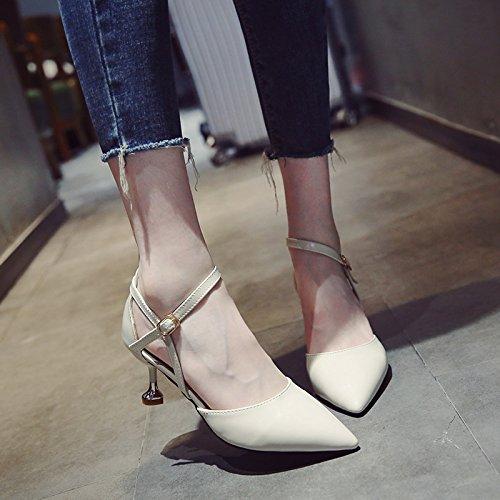 Femme High De Pointe Chaussures Des Tête En Sandales Une Avec Heeled SHOESHAOGE Chats Les EU34 Avec Fine Astuce aOFxwqn6X